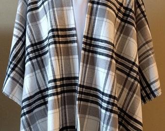 Black and White Brushed Cotton - Poncho Shawl