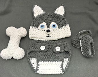 Crochet Husky Hat/4-Piece Set