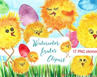 Easter Chicken Clip art, Easter watercolor clipart, Easter clip art.