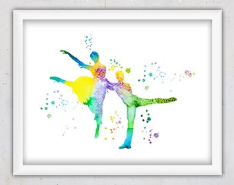 Dance Print, Watercolor Dance Art, Modern Art Print, Modern Wall Art, Instant Digital Download Wall Art, Nursery Room Art, Colorful Print