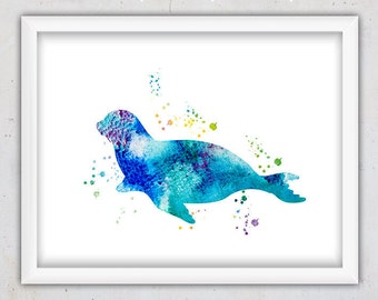 Watercolor Seal Print, Nursery Animal Printable Print, Nursery Seal Print, Nursery poster, Ocean Animal Art, Digital Instant Download Print