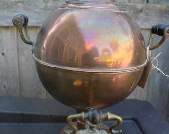 Antique Brass Tea Urn with 3 Black Wood Handles - Circa 1950
