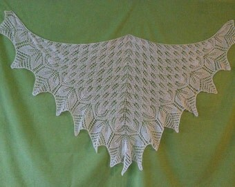 Shoulder scarf,  natural white , knitted