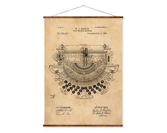 """Typewriter Patent, Canvas 16""""x22"""", vintage typewriter art, canvas art, vintage art, office art, writer art"""