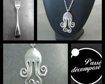 fork pendant necklace silvered