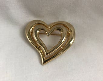 Vintage Heart Brooch, Gold Tone Pin, Estate Jewelry