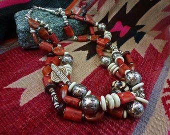 Artisan Tribal Triple Strand Necklace, Jasper & Bone 24 inches