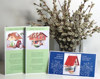 Easter cards with the Easter cottage motifs and matching poem, double cards with lines to write