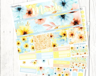 March Monthly Kit | Spring, Sun, Flowers, Planner stickers, MONTHLY KIT