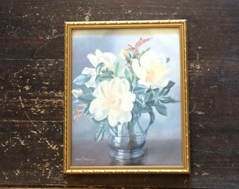 Vintage Albert Williams Print im Gold Frame - Yellow roses in a silver tankard