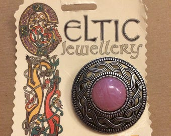 Vintage Miracle Celtic Jewellery Pin Brooch - antique silver finish, pink glass cabochon, ropework twist