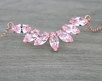Rose gold necklace, Bridal necklace, Bridal jewelry, Swarovski necklace, Crystal necklace, Wedding necklace, Blush crystal necklace