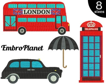 UK things - Designs for Embroidery Machine Instant Download Digital File Graphic Stitch 4x4 5x7 inch hoop bus car taxi umbrella phone 558e