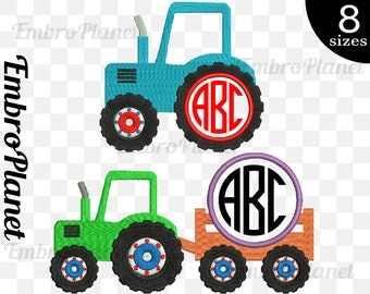 Circle Tractors - Designs for Embroidery Machine Instant Download Digital File Graphic Stitch 4x4 5x7 hoop icon tractor name text farm 640e