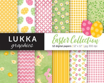 Easter digital paper pack;  Easter digital patterns; Easter eggs, chicks, rabbits, daisy pattern, gingham, polka dots; pink, yellow, green