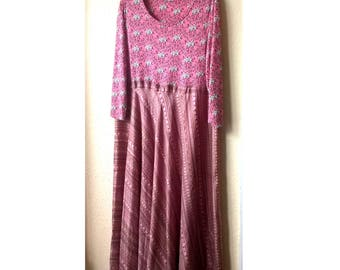 Long and Floaty. Silk Plus Size Pink Dress.