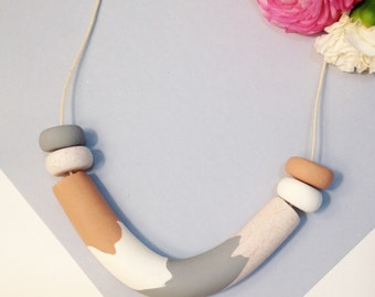 Polymerclay necklace neutral bead tube