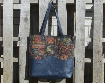 "Large Tote Bag Upholstery ""Born to Fish"""