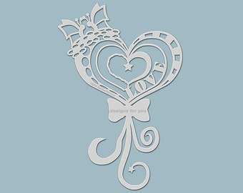 Stencil 0504 Butterflylove (silhouette) reusable for textile design, mixed media, scrapbooking, canvas, decoration, walls, DIY,.