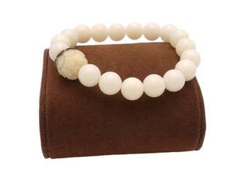 Bracelet Bodhi seeds beads White Lotus Flower