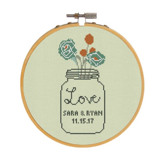 Roses wedding cross stitch pattern pdf modern