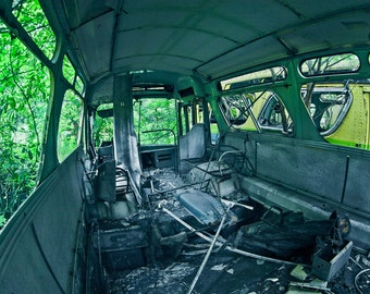 Abandoned Bus, Urbex, Vehicle, Photography Art Print, Decay, Green, Silver, Exposed Metal