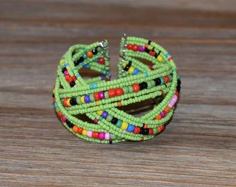 Multi Colored Beaded Bracelet | Handmade Beaded Bracelet | Lime Beaded Cuff Bracelet