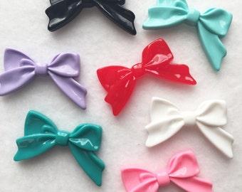 7 pc large resin bow cabochons mixed color flatback bow cabochons bow shaped flatback cabochon beads kawaii cabochons CA033