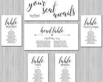 Wedding Seating Chart - Hanging Wedding Seating Board - Wedding Seating Plan - Table Cards - Seating Cards - Printable - Color Available