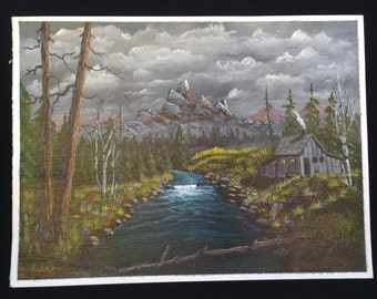 Original Hand Painted Acrylic Painting Out Door Scenery Landscape Mountains Cabin Creek