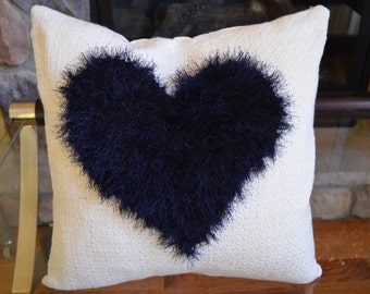 """Throw pillow cover,Hand made pillow cover, 20""""x20"""", Heart pillow cover, Cushion cover, White pillow cover, Decorative pillow cover"""