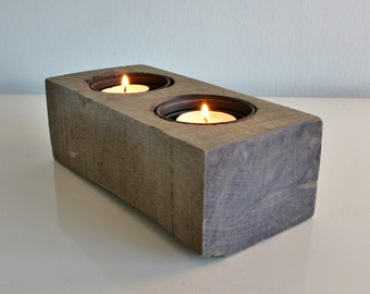 "8"" Reclaimed Wood Tea Light Candle Holder"