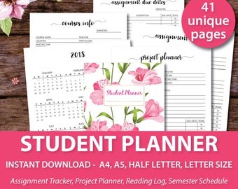 College Student Planner 2017-2018, Academic Monthly Planner, Academic Planner 2017-2018, Student Agenda, College Student Planner Printable