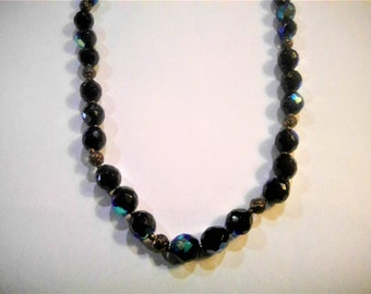 Vintage Carnival Glass Bead Necklace