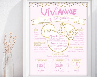 Minnie Mouse First Birthday Custom Chalkboard Poster Sign
