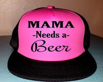 Mama Needs A Beer Trucker Hat Snapback Hat Beach Hat Hat River Rat River Hat Lake Hat Havasu Life Summer Hat Adjustable Trucker Hat