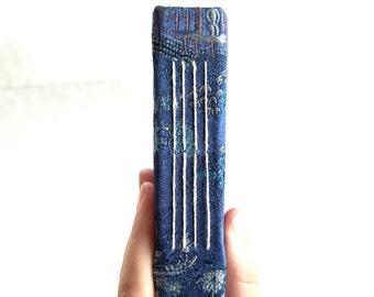 Oriental pattern blue longstitch handbound notebook, photo album, illustration sketchbook  (11x17,5 cm, 4,5x6,5 inch)