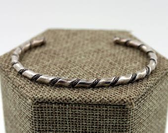 Navajo Sterling Silver Double Rope Twisted Cuff Bracelet