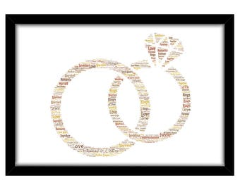 PERSONALISED Wedding Rings Word Art Print Gift Idea Birthday Present Wall Art Home Print Couples Engagement Proposal Anniversary Renew Vows