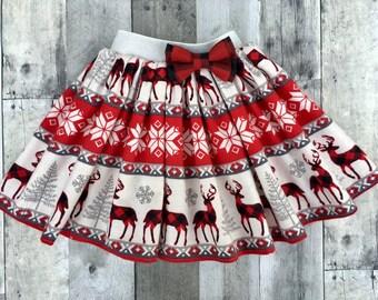 girls Christmas skirt,snowflake skirt, buffalo plaid skirt, toddler girl Christmas skirt