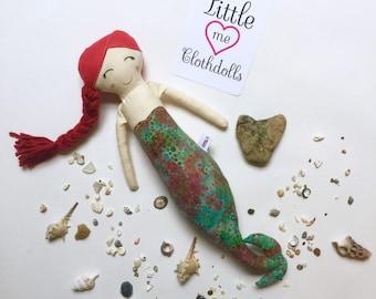 Mermaid Doll// Handmade Doll// Fabric Doll// Cloth Doll// Rag Doll// Mini Mermaid Doll// Red Haired Mermaid Doll- Limited Edition
