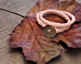 baby bracelet, pale pink crochet bracelet,   mercerized cotton thread and shell button, handmade crochet cotton bracelet