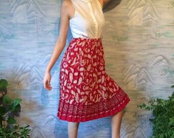 Vintage 80s Pleated Skirt Elastic Waist Skirt  Print Skirt Knee Length Skirt Viscose Skirt Women Summer Skirt  Medium to Large Size