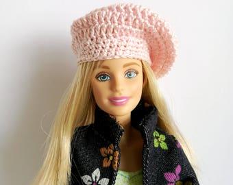 Barbie doll beret, light pink hat for Barbie-like dolls