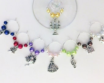 Beauty and the Beast Wine Charm Set of 8
