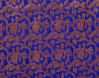 Half Yard of Blue and Golden Floral Pattern Brocade Silk Fabric, Indian Silk Fabric by the Yard, Brocade Silk Fabric