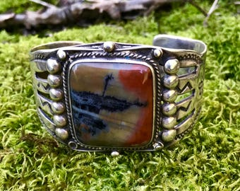 Large square Petrified Wood Cuff Bracelet