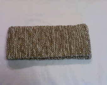 Winter Scarf In Tan,White,Latte Mohair Mix with Sparkling Sequins.Womens