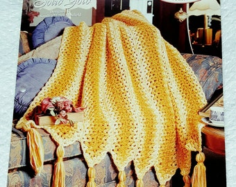 1995 The Needlecraft Shop Solid Gold Crochet Afghan Pattern
