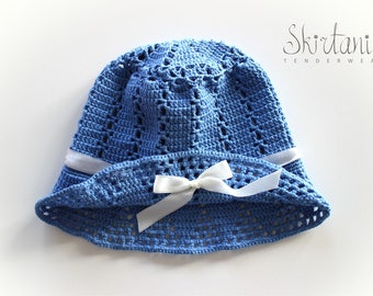 Forget-Me-Not - French Blue Summer Crochet Hat White Ribbon
